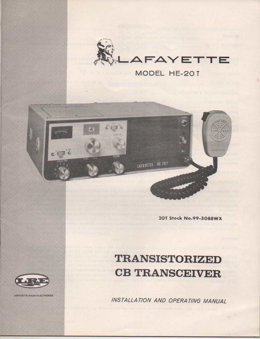 HE-20T CB Radio Owners Service Manual. Owners manual with schematic.  Stock No. 99-3088WX .