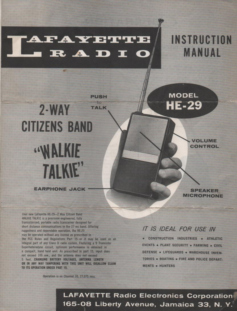 HE-29 Walkie Talkie Radio Owners Service Manual..  Owners manual with schematic.