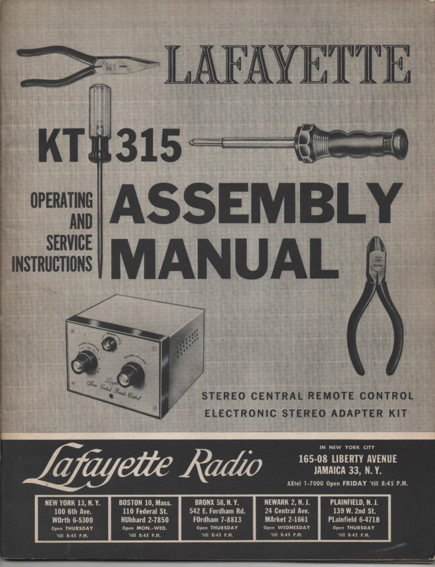KT-315 Remote Control Stereo Adapter Assembly Service Manual