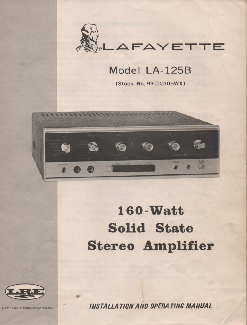 LA-125B Amplifier Owners Service Manual. Owners manual with large schematic..