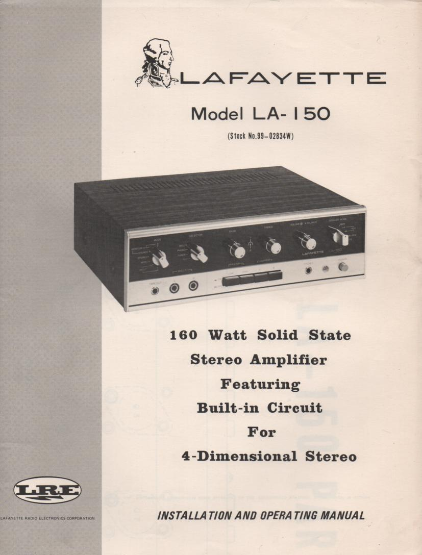 LA-150 Amplifier Owners Service Manual. This is an owners manual with a large foldout schematic