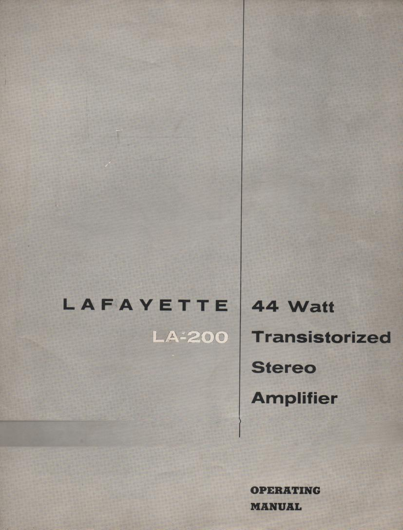 LA-200 Amplifier Owners Service Manual.   Owners manual with schematic.
