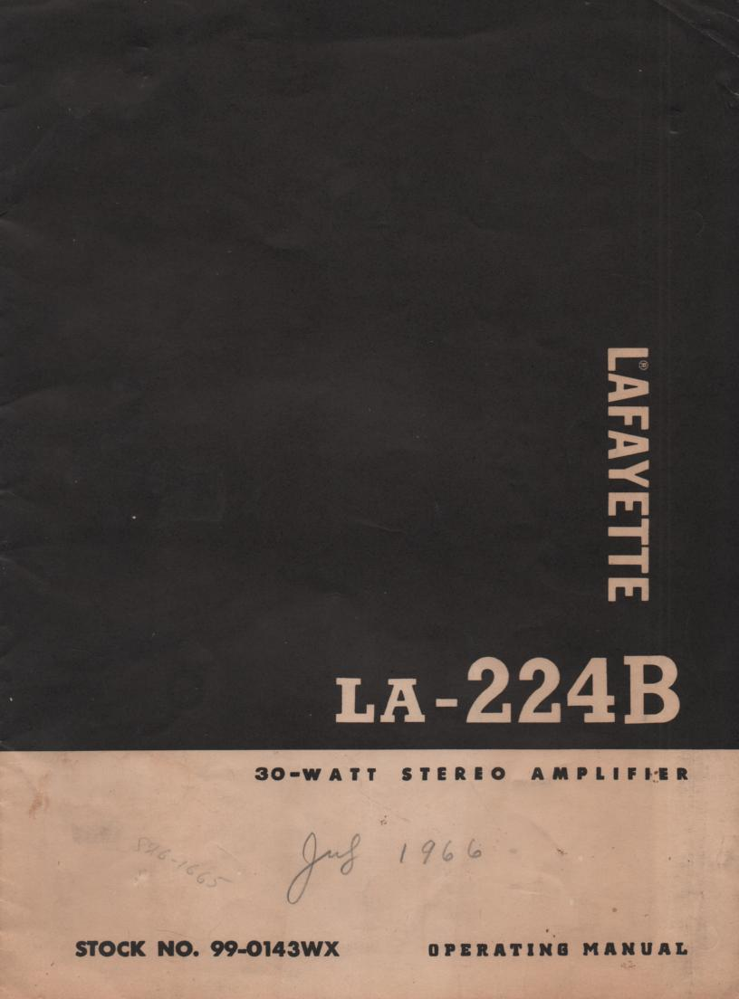 LA-224B Amplifier Owners Service Manual. Owners manual with schematic.  Stock No. 99-0143WX .