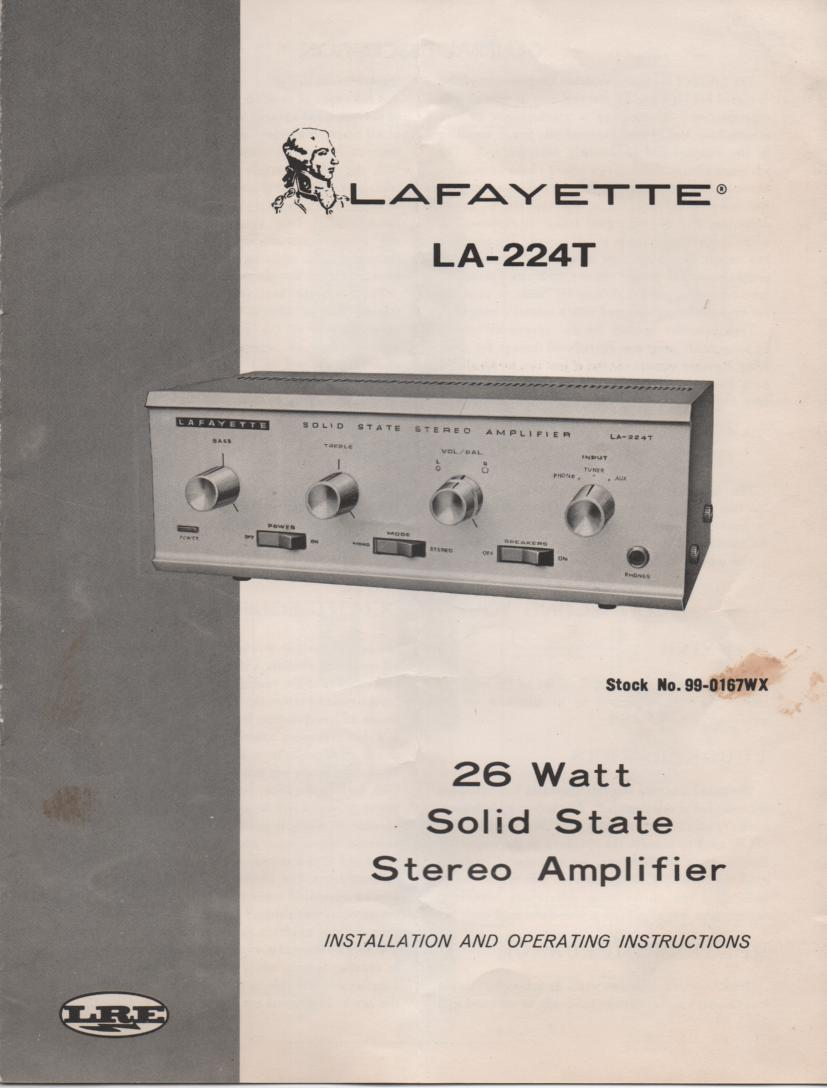 LA-224T Amplifier Owners Service Manual. Owners manual with schematic .  Stock No. 99-0167WX .