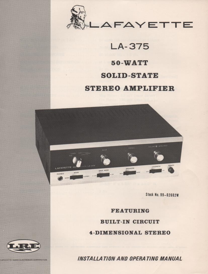 LA-375 Amplifier Owners Service Manual. Owners manual with schematic.   Stock No. 99-02602w .