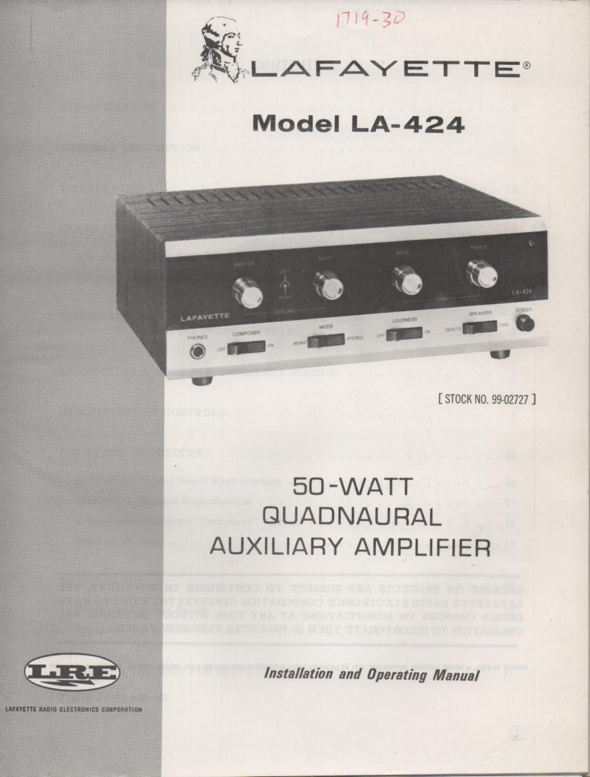 LA-424 Amplifier Owners Service Manual with Foldout Schematic and Parts foldout. (2 foldouts)