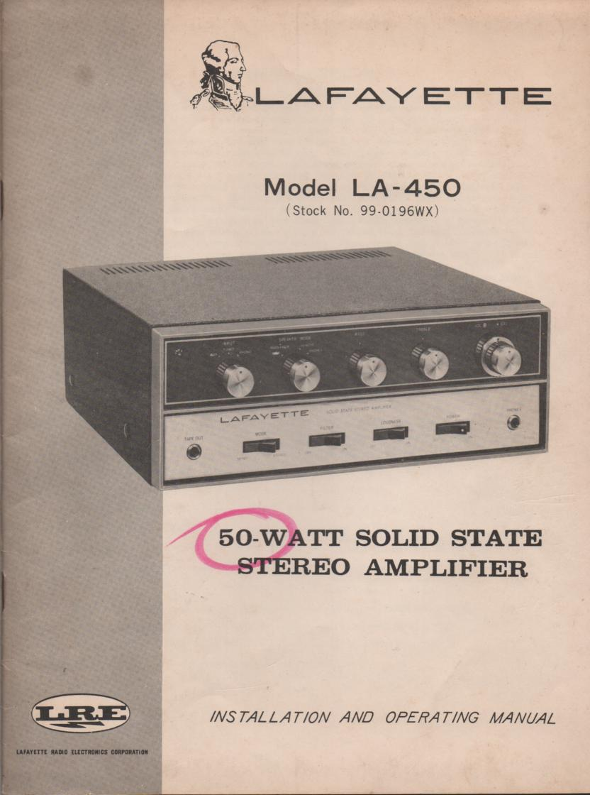 LA-450 Amplifier Owners Service Manual.  Owners Manual includes scematic..  Stock No, 99-0196WX .