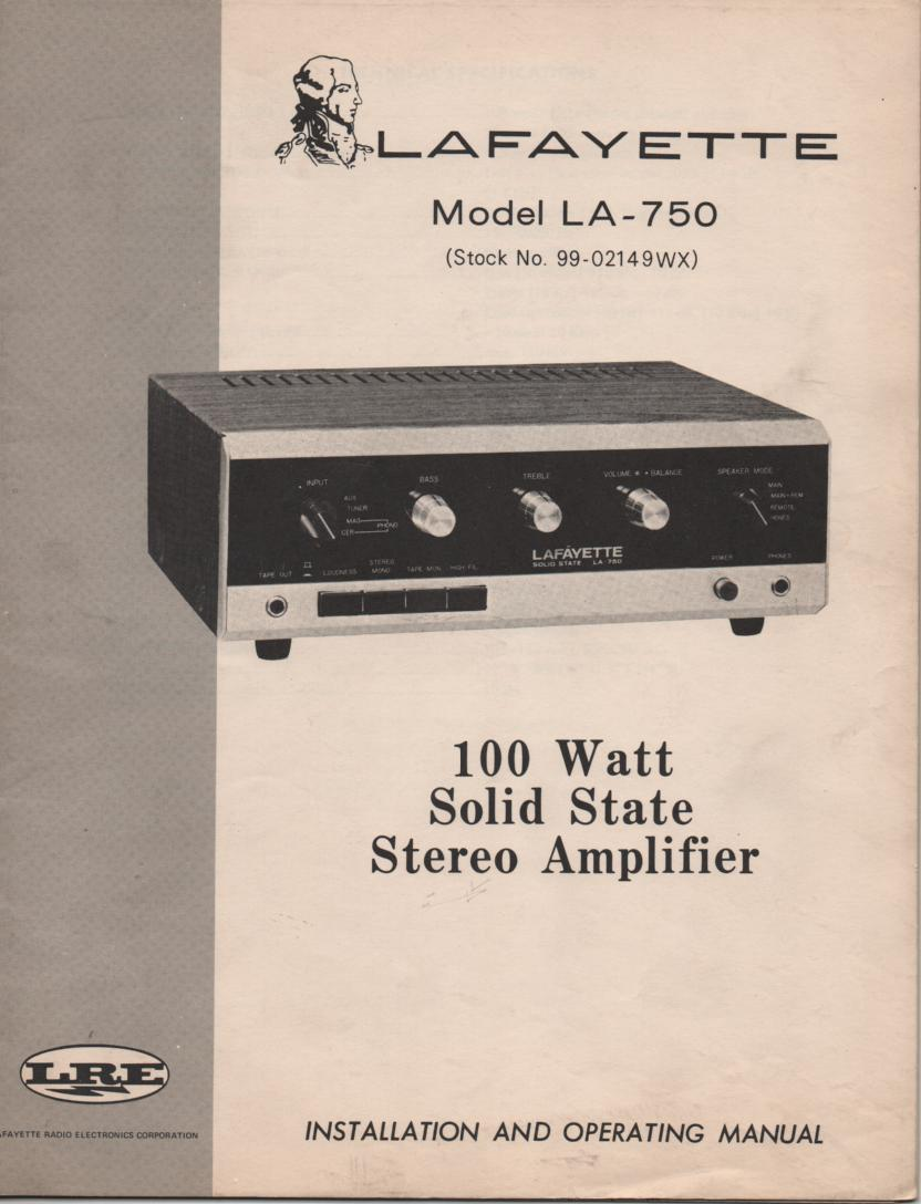 LA-750 100 Watt Stereo Amplifier Owners Service Manual with foldout schematic
