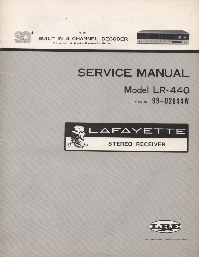 LR-440 Receiver Service Manual with large foldouts and schematic.  Stock No. 99-02644W .