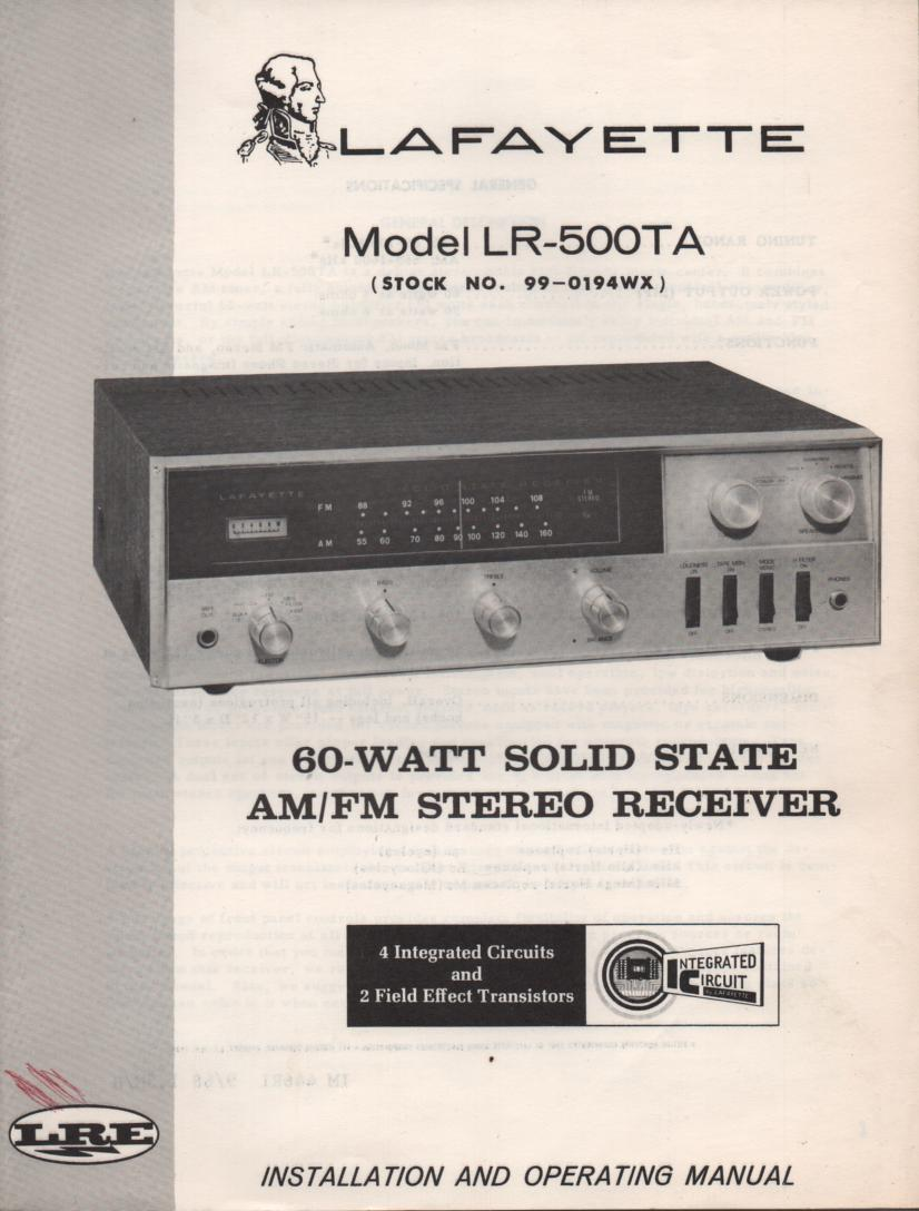 LR-500TA Receiver Owners Service Manual.  Owners manual with schematic