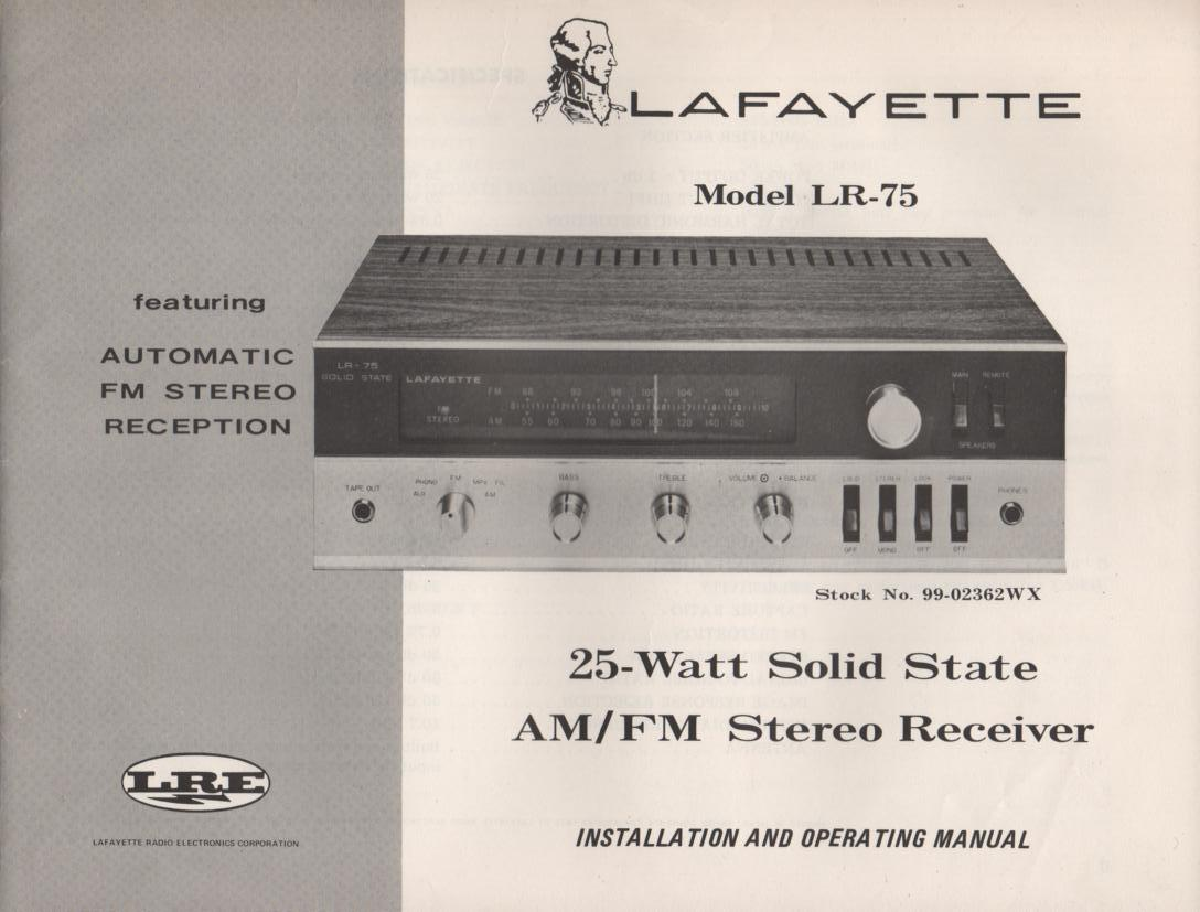 LR-75 Receiver Owners Service Manual. Owners manual with 2 large foldouts.  1 foldout is the schematic.   Stock No. 99-02362WX .