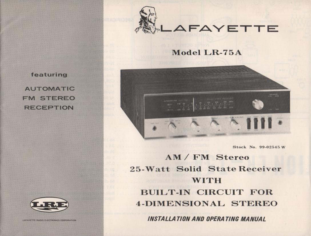 LR-75A Receiver Owners Service Manual. Owners manual with 2 large foldouts. 1 foldout is the schematic. Stock No. 99-02545W .