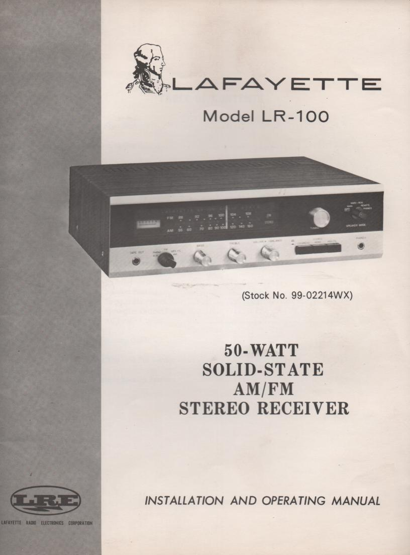 LR-100 Receiver Owners Instruction Manual with Schematic