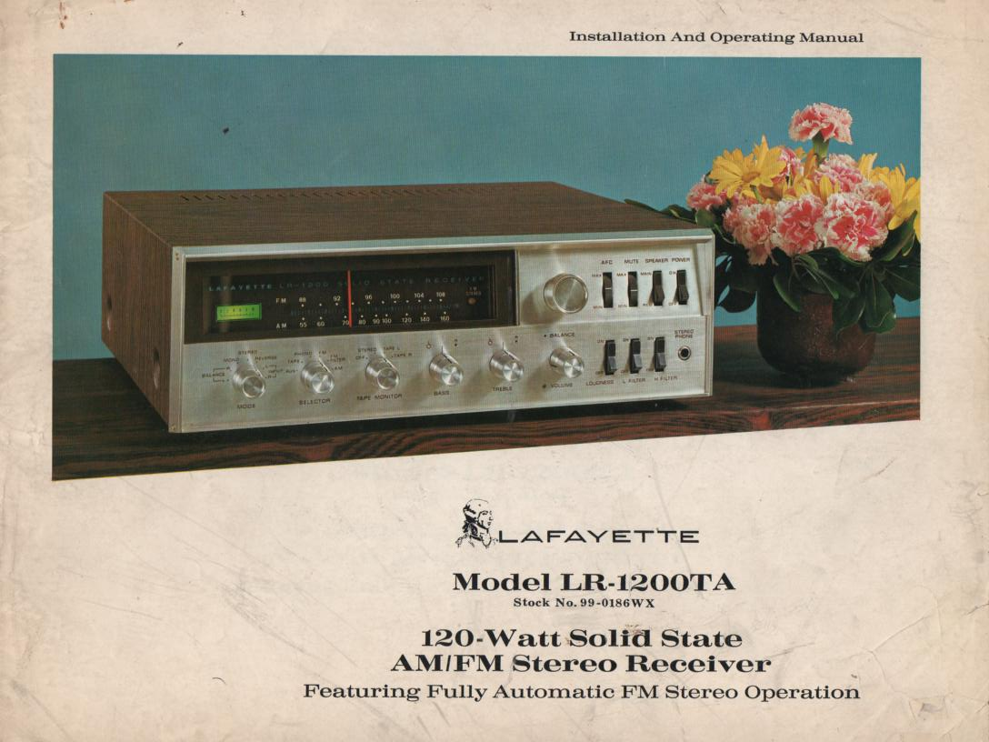 LR-1200TA 120 Watt Stereo Receiver Owners Service Manual.  Owners manual with foldout schematic..  Stock No. 99-0186WX .