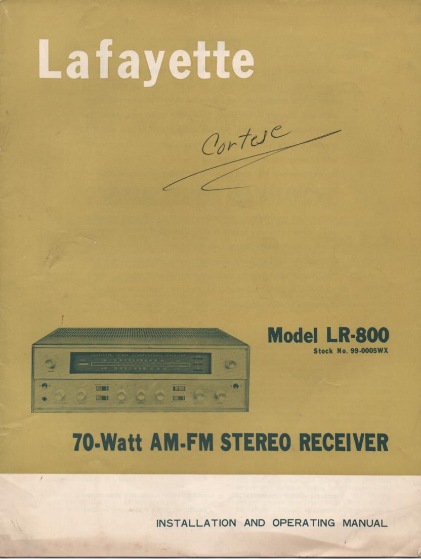 LR-800 Receiver Service Installation Operating Manual with Schematic