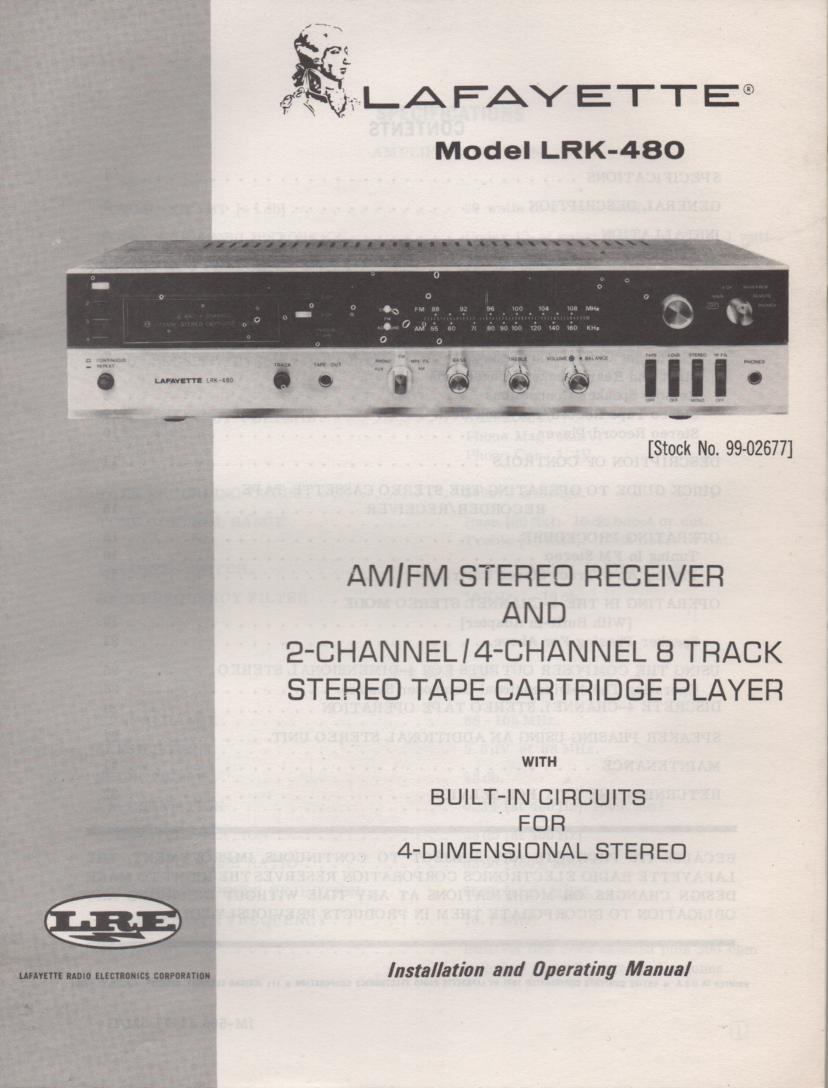 Lafayette Lrk 480 Receiver Manual Wiring Diagrams 8 Track Owners Service With Large Foldout