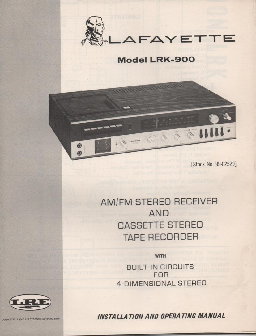 LRK-900 8-Track Receiver Owners Service Manual. Owners manual with large foldout schematic.   Stock No. 99-02529
