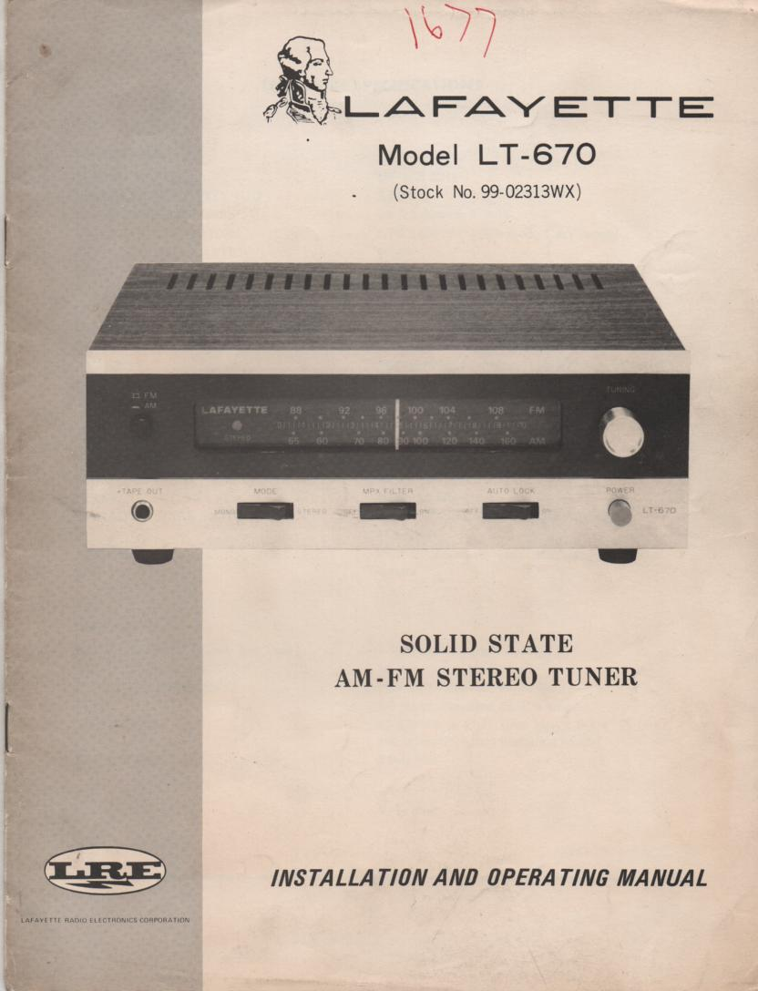LT-670 AM FM Tuner Owners Service Manual with foldout schematic