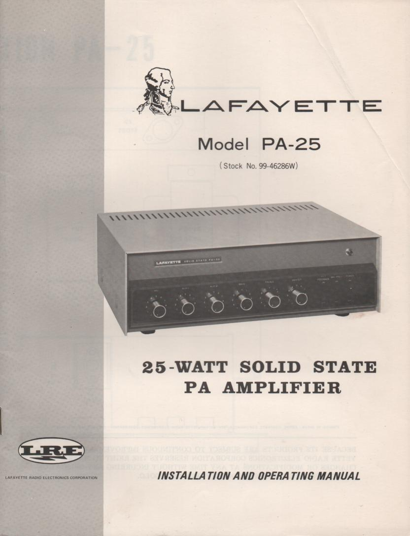 PA-25 Owners Service Manual. Owners manual with schematic.  Stock No. 99-46286W .