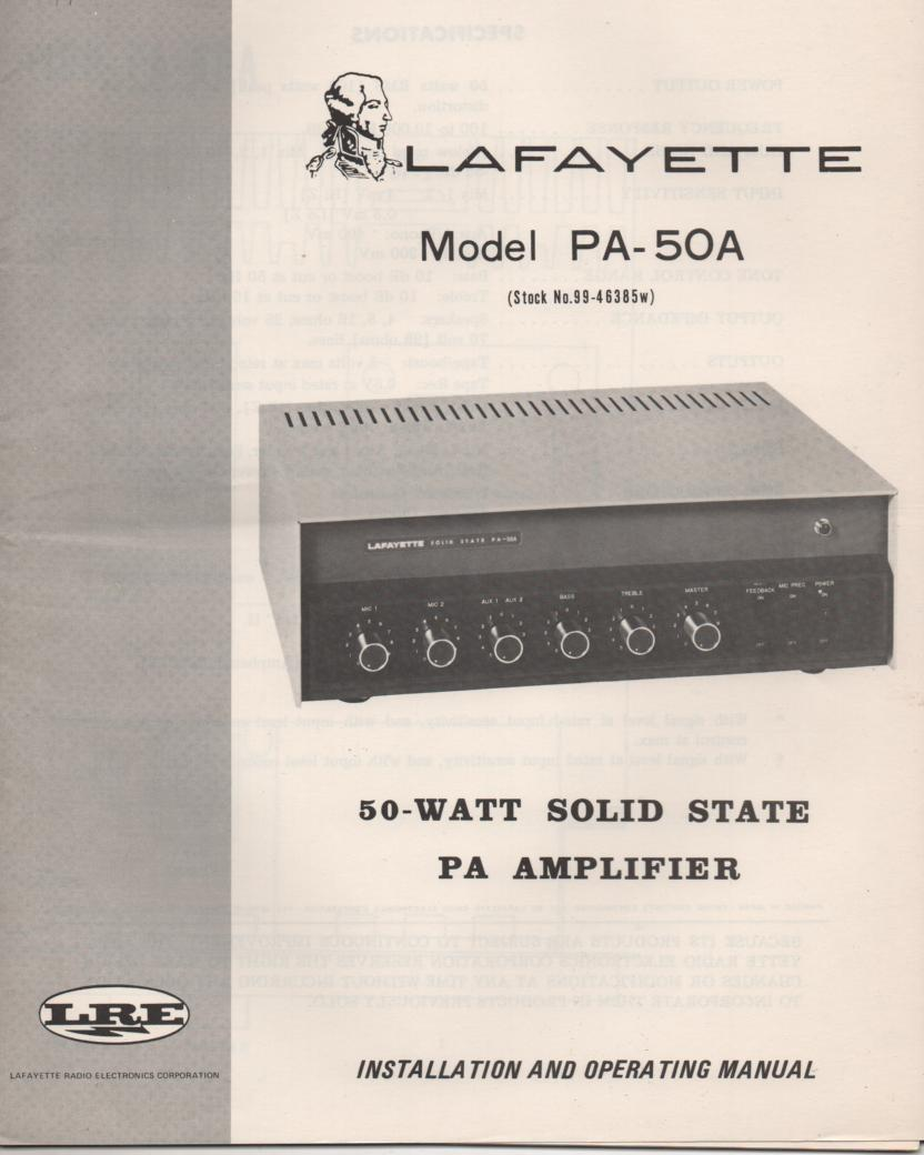 PA-50A PA Amplifier Owners Service Manual. Owners manual with schematic.  Stock No. 99-46385W .