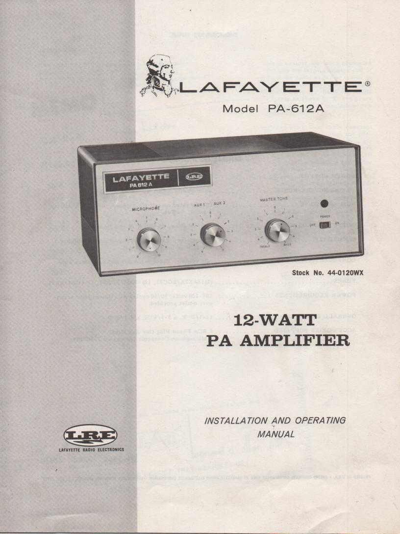 PA-612A Amplifier Owners Service Manual. Owners manual with schematic. Stock No. 44-0120WX .