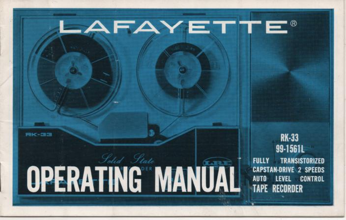 RK-33 Tape Recorder Manual  LAFAYETTE