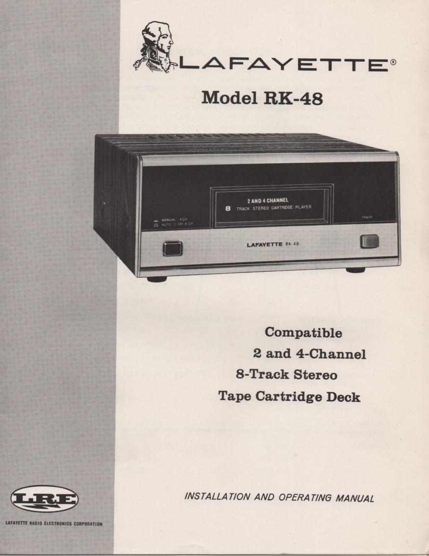 RK-48 8-Track Player Manual.  8-Track player Owners Service Manual.   Owners manual with schematic.