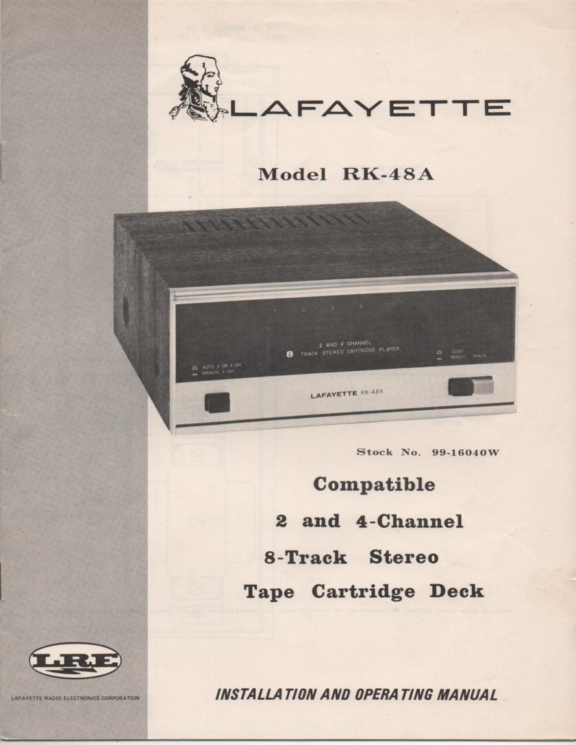 RK-48A 8-Track Player Manual.  8-Track player Owners Service Manual.   Owners manual with schematic.