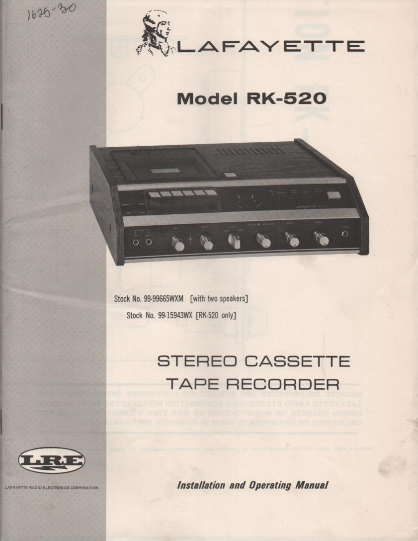 RK-520 Cassette Tape Recorder Owners Service Manual. Owners manual with foldout schematic. Stock No. 99-15943WX .