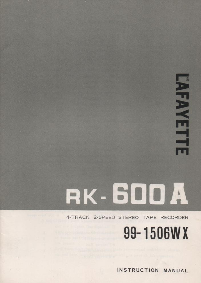 RK 600A Reel to Reel Manual  LAFAYETTE