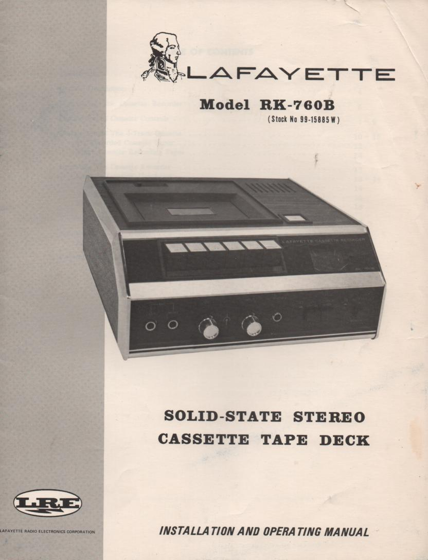 RK-760B Cassette Deck Owners Service Manual. Owners manual with schematic... Stock No. 99-15885W