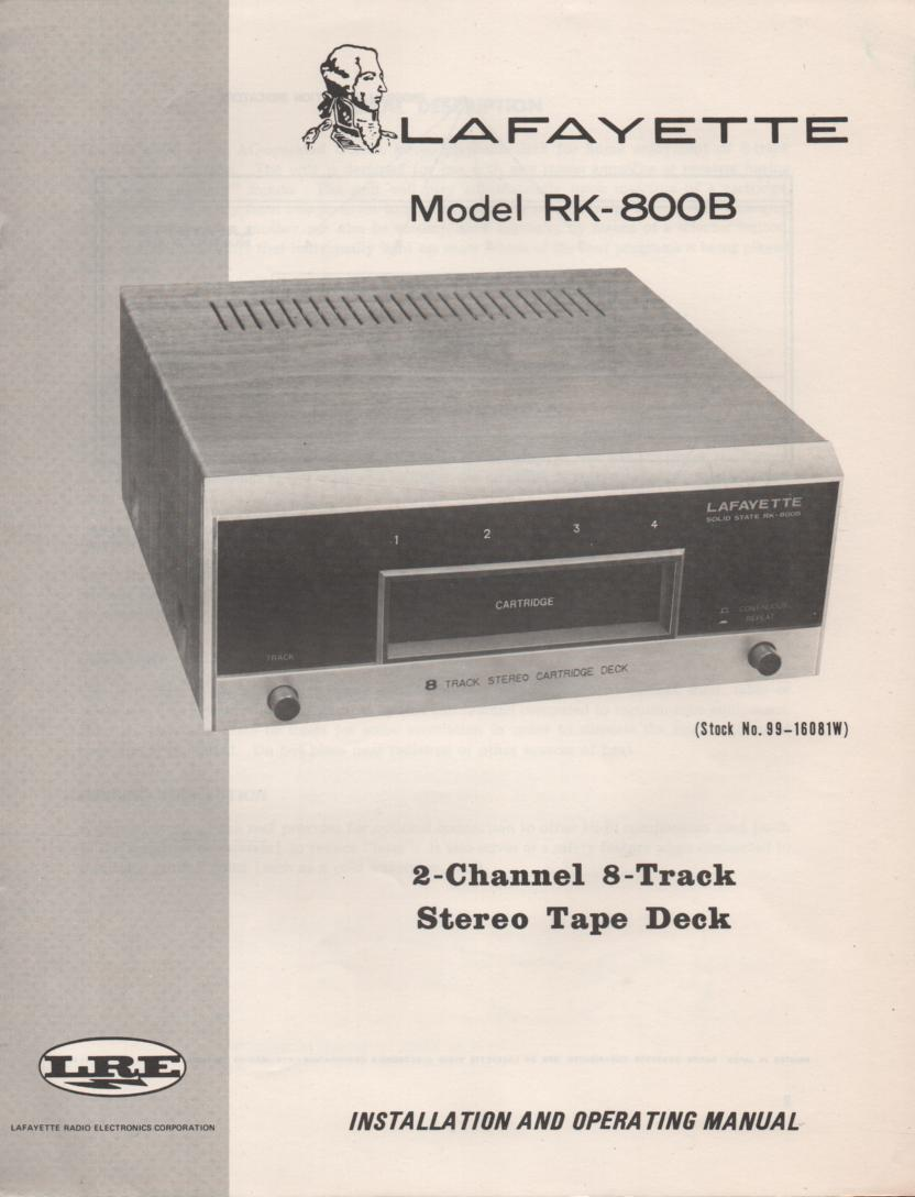 RK-800B 8-Track Owners Service Manual. Owners manual with schematic. Stock No. 99-16081W ...
