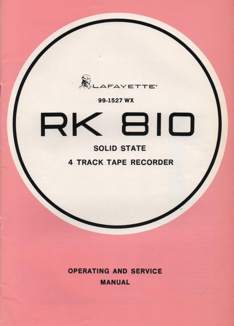 RK-810 Reel to Reel Manual  LAFAYETTE