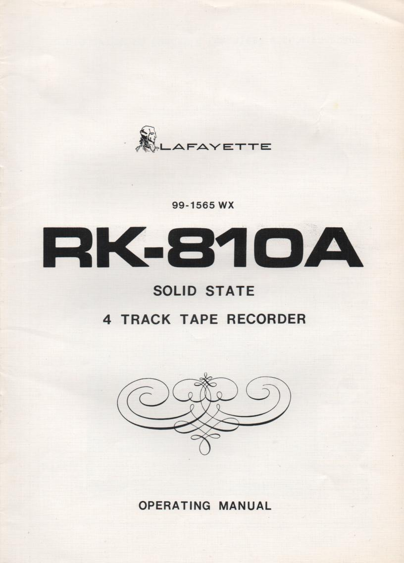 RK-810A Reel to Reel Manual  LAFAYETTE