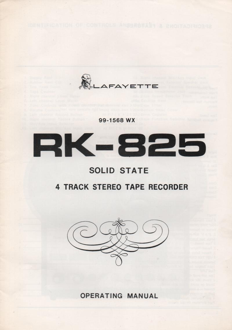 RK-825 Reel to Reel Owners Manual  LAFAYETTE