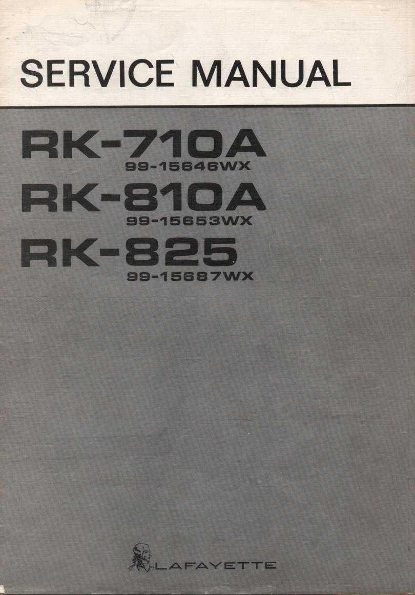 RK-825 Reel to Reel Service Manual with schematic.  Stock No. 99-15687WX  ..