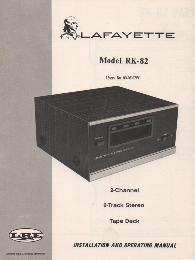 RK-82 8-Track Player Manual. Owners Service Manual.  Owners manual with schematic,