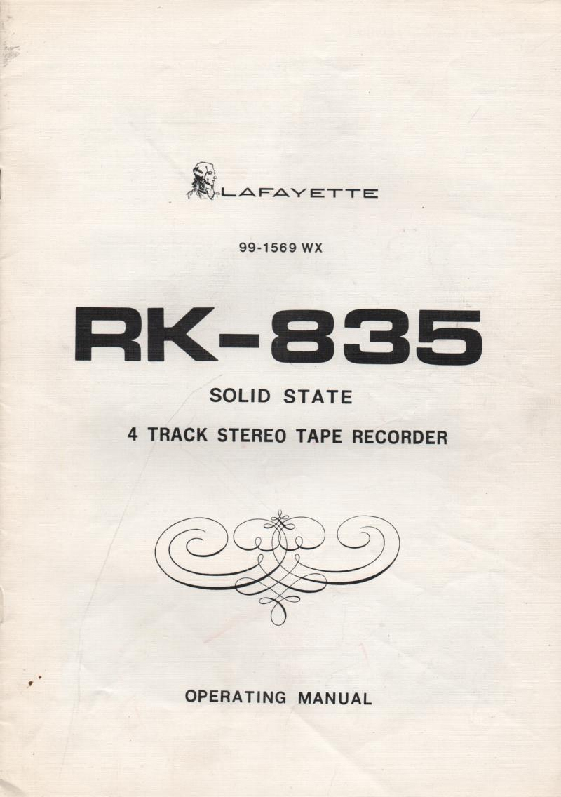 RK-835 Reel to Reel Owners Service Manual.   Owners manual with schematic. Stock No. 99-1569WX .