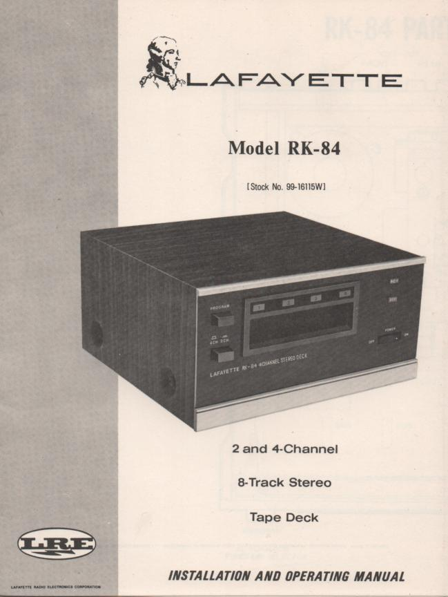 RK-84 8-Track Player Manual. Owners Service Manual.  Owners manual with schematic.