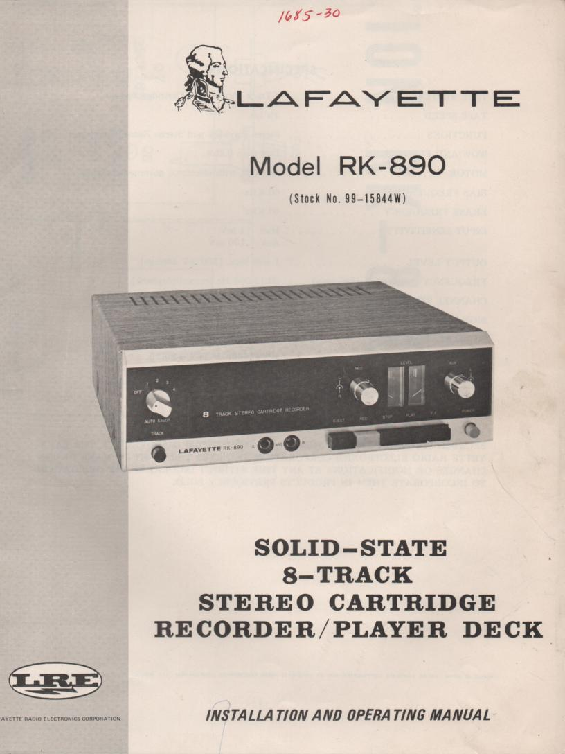 RK-890 8-Track Recorder Player Owners Service Manual. Owners manual with schematic. Stock No. 99-15844W .