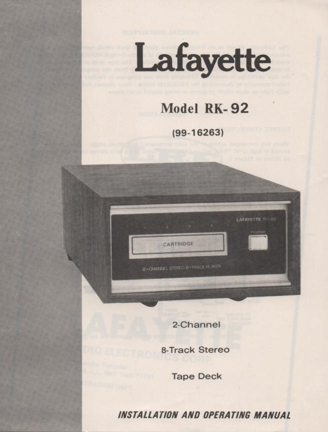 RK-92 8-Track Player Manual.   RK-92 8-Track player Owners Service Manual.   Owners manual with schematic...  Stock No. 99-16263