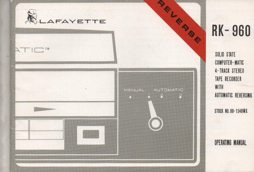 RK-960 Reel to Reel Manual  LAFAYETTE