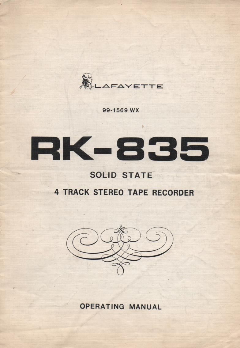 RK-835 4 Track Reel to Reel Owners Service Manual  LAFAYETTE