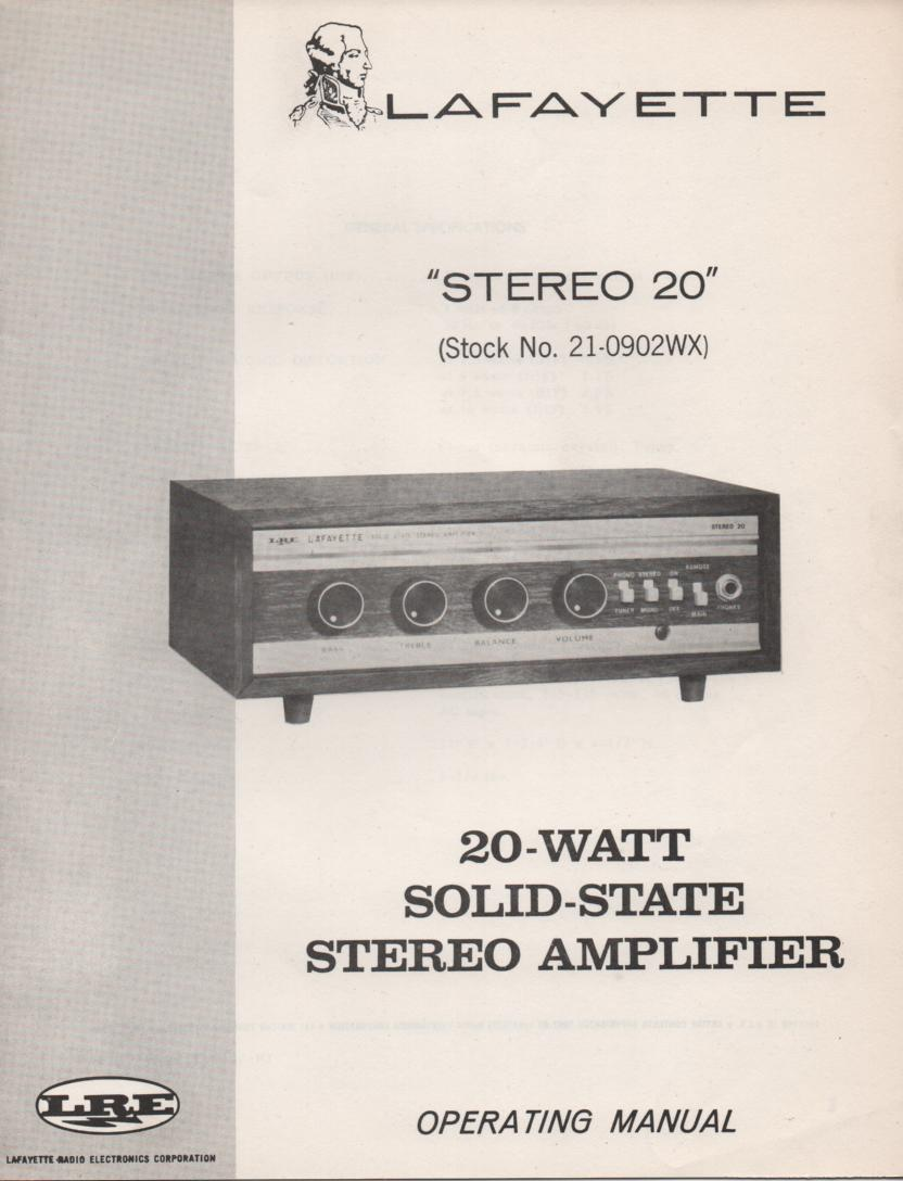 Stereo 20 Amplifier Owners Service Manual .  Owners Manual with schematic.    Stock No. 21-0902WX .