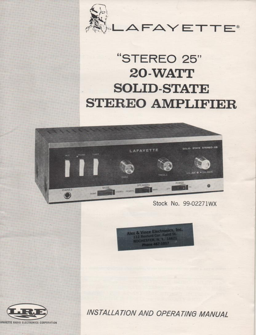 Stereo 25 Amplifier Owners Service Manual.  This is an owners manual with a schematic