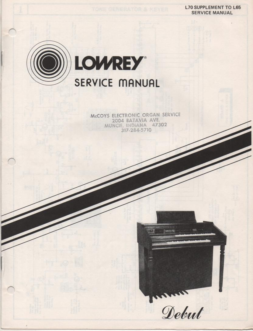 L70 Debut Organ Service Manual.   Comes with the L65 manual and the L70 manual..