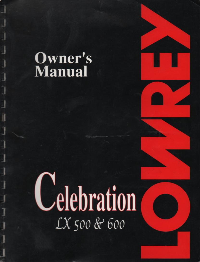 LX500 LX600 Organ Owners Operating Instruction Manual