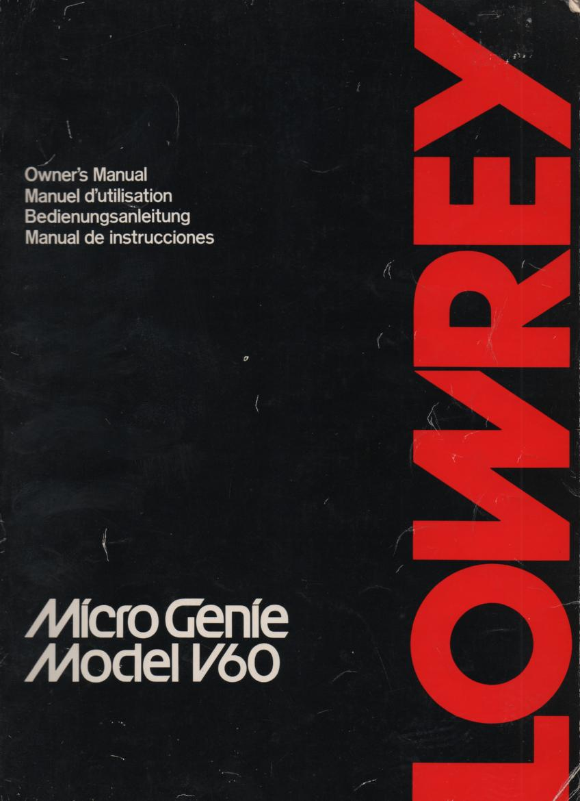 V-60 Micro Genie Organ Owners Operating Instruction Manual