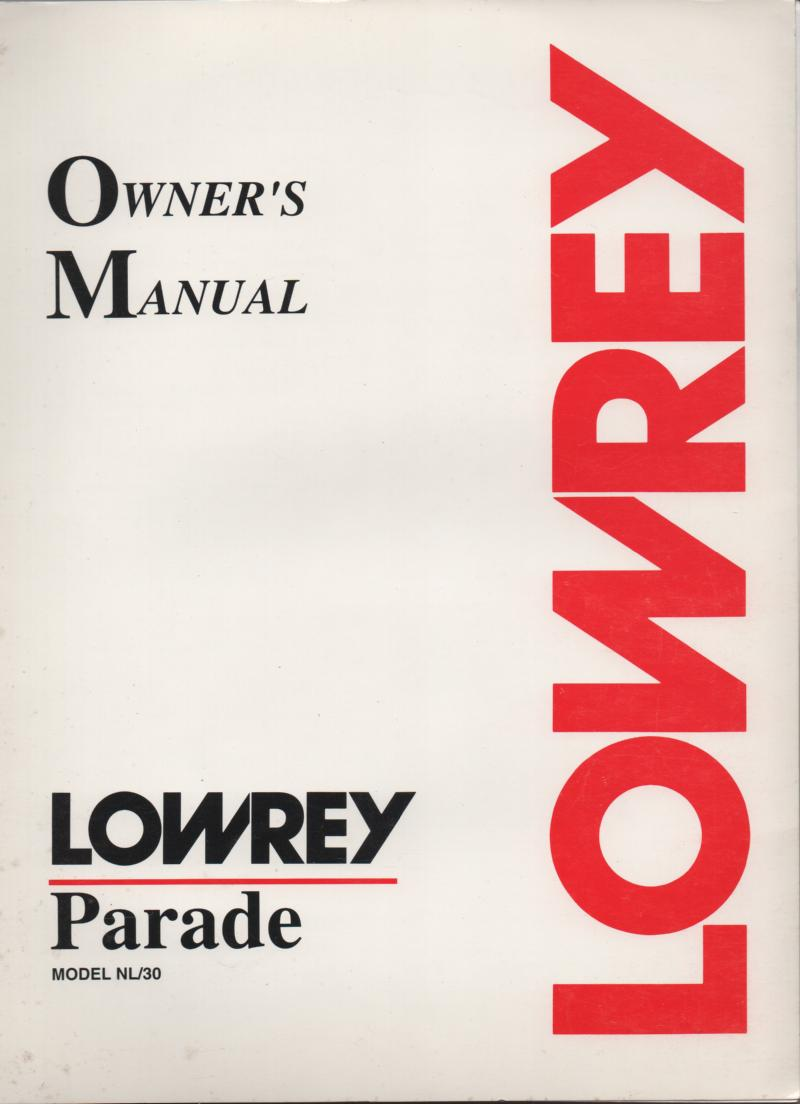 NL30 Parade Organ Owners Operating Instruction Manual