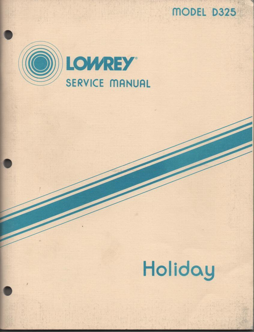 D325 Holiday Organ Service Manual
